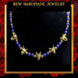 Jewelry - Golden Wolves & Purple Agate Necklace #566